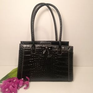 Liz Claiborne Mini Black Faux Alligator Handbag